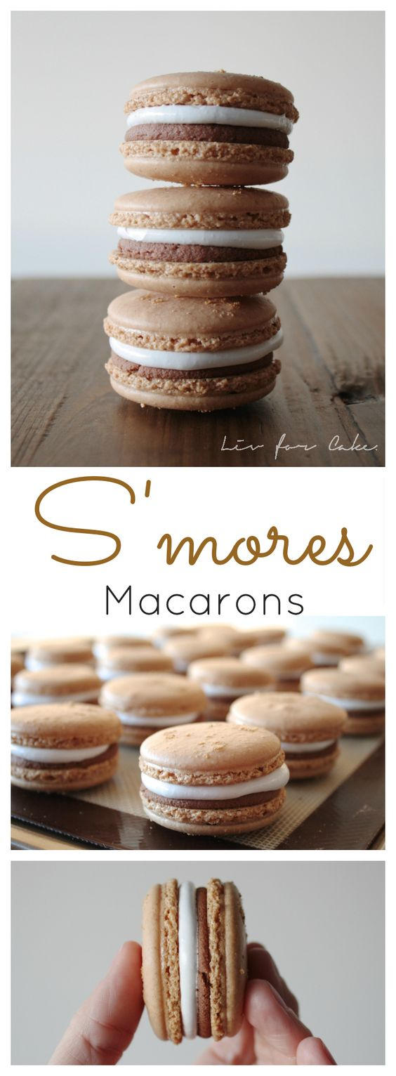THESE S'MORES MACARONS WILL SATISFY YOUR CRAVING WHEN THERE ISN'T A CAMPFIRE NEARBY! PERFECT BLEND OF GRAHAM CRACKER COOKIES FILLED WITH MARSHMALLOW AND CHOCOLATE.
