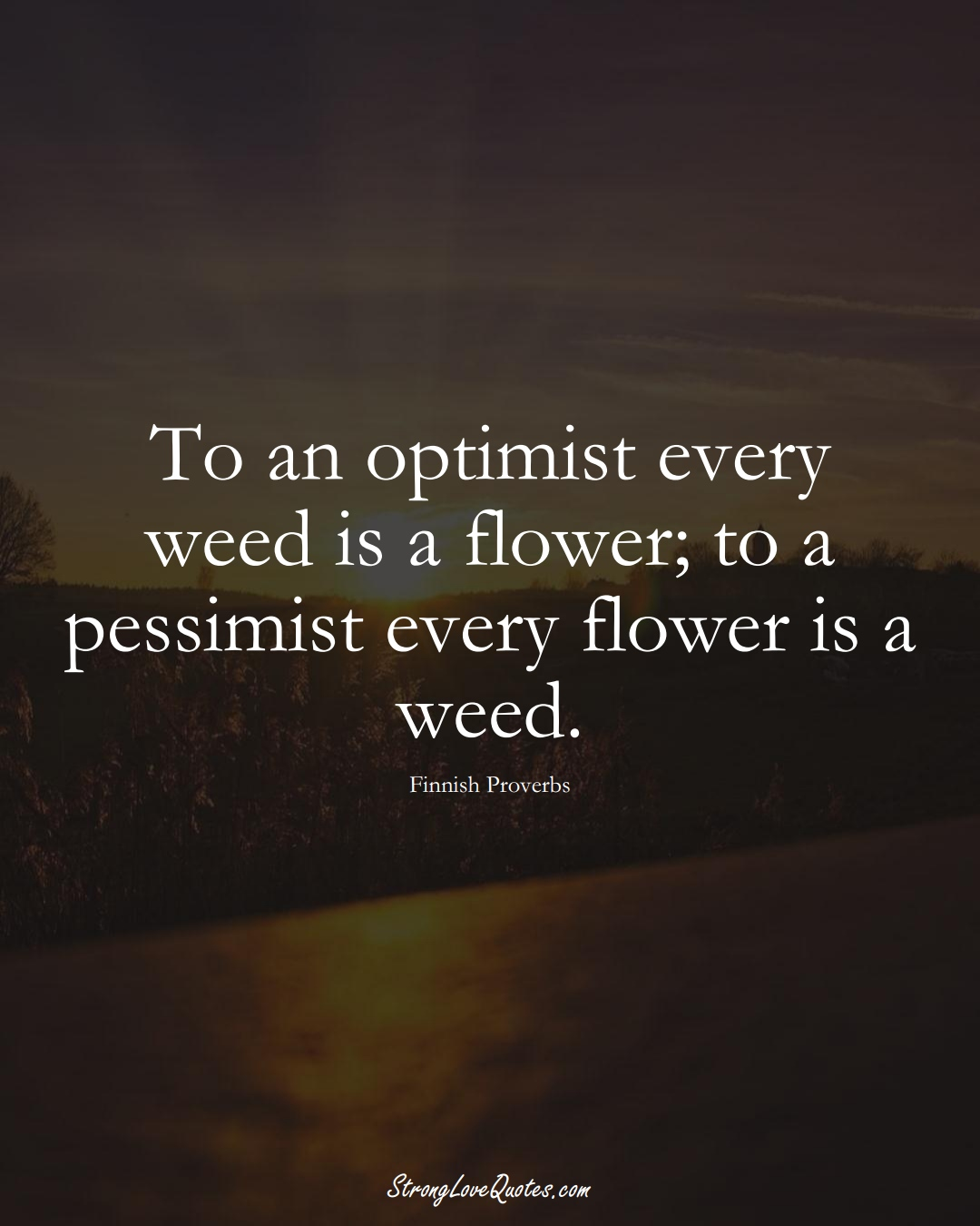 To an optimist every weed is a flower; to a pessimist every flower is a weed. (Finnish Sayings);  #EuropeanSayings