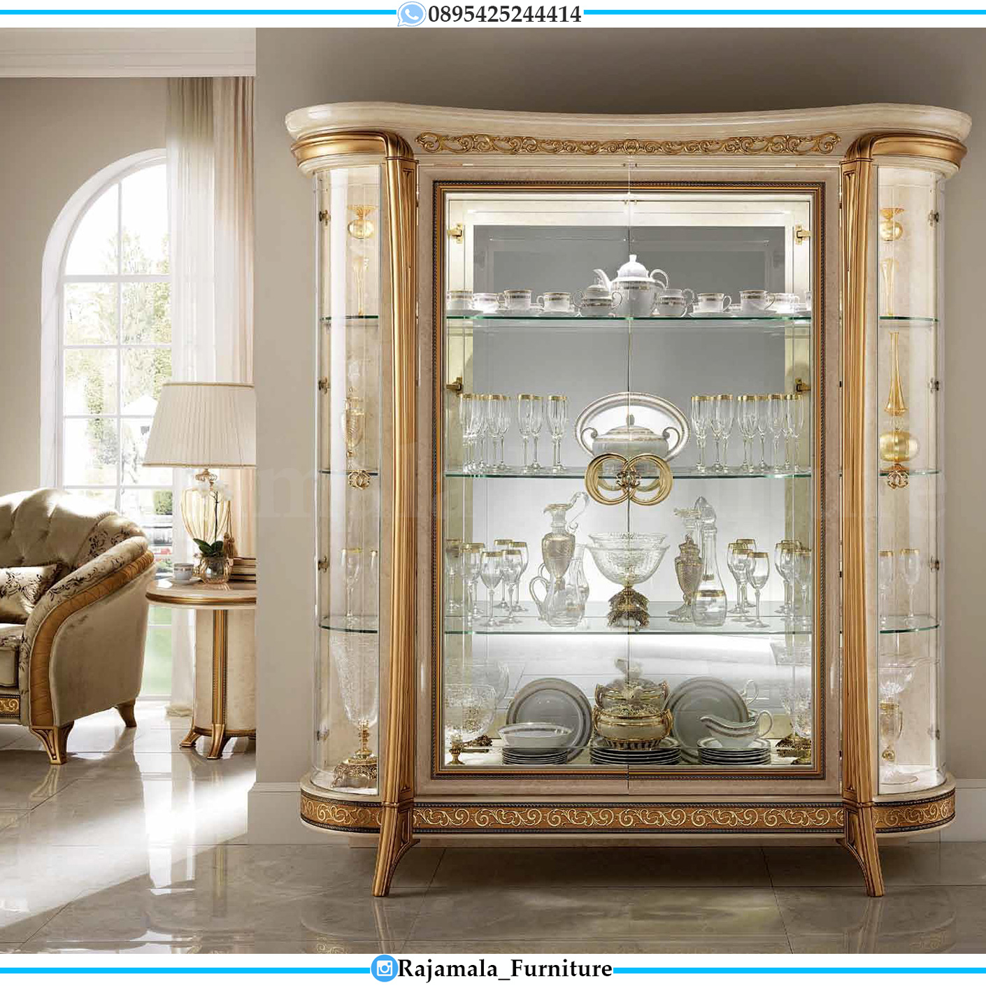 Lemari Hias Mewah Kaca Luxury Type Italian Baroque RM-0033