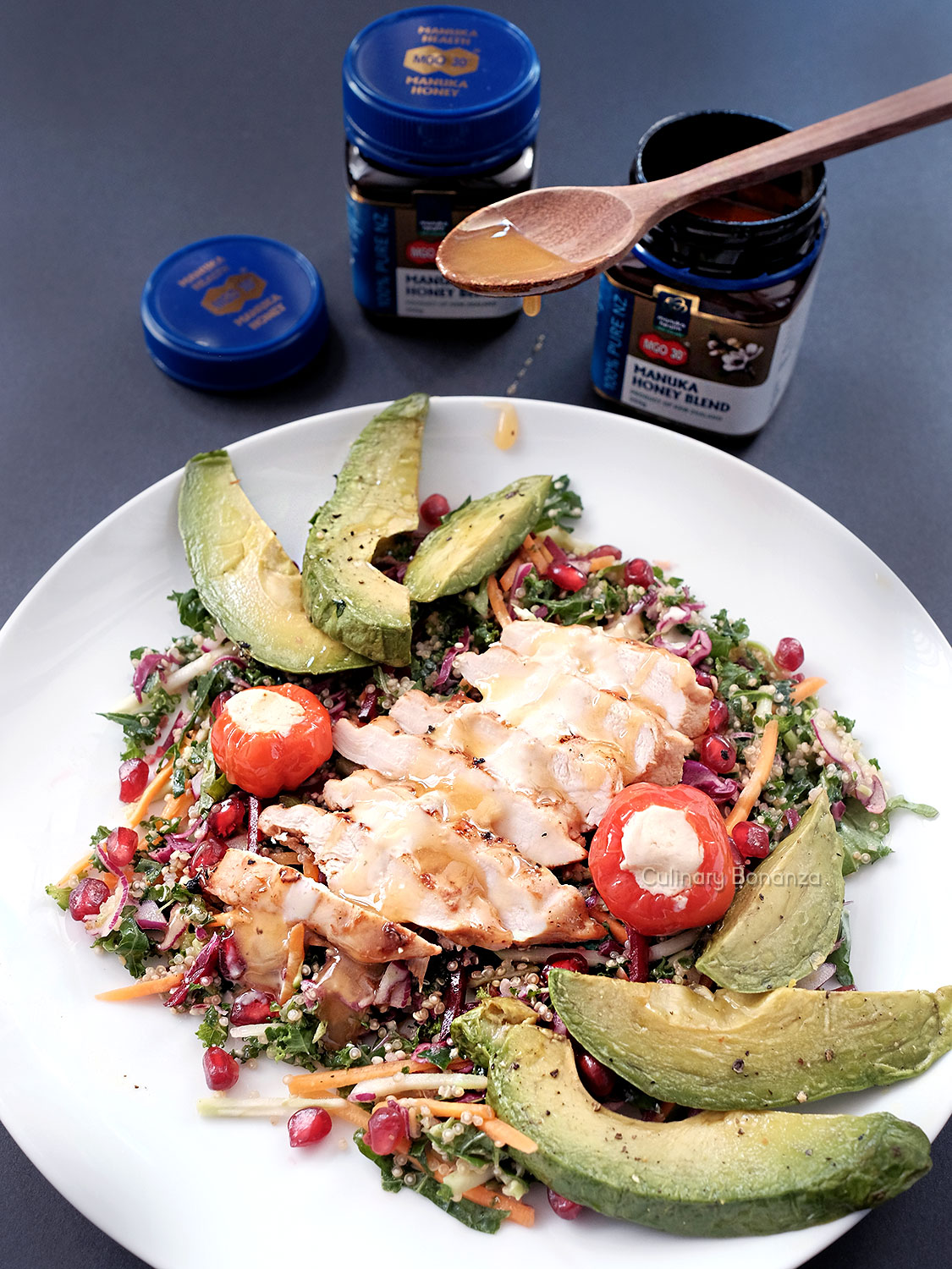 Chopped Salad with Grilled Chicken and Honey Lemon Tahini Dressing (www.culinarybonanza.com)