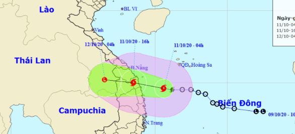 Bão đang tiến vào các tỉnh từ Quảng Nam đến Bình Định