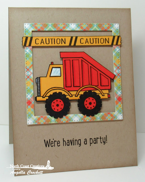 NCC Dump Truck Birthday, ODBD Birthday Brights Paper Collection, ODBD Custom Pierced Squares Dies, Card Designer Angie Crockett