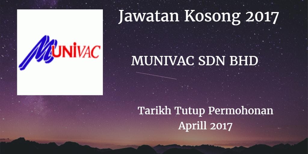 Jawatan Kosong Munivac Sdn Bhd April 2017