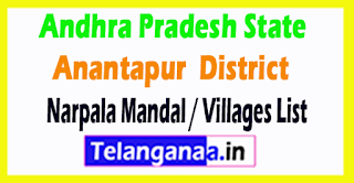 Narpala Mandal Villages Codes Anantapur District Andhra Pradesh State India