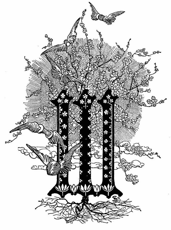 a Carlos Schwabe decorative initial W