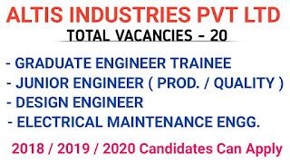 ITI/ Diploma/ B.E./ B.Tech Jobs Vacancy For Machine Operators, and Engineers in Altis Industries Pvt. Ltd., Pithampur, Madhya Pradesh