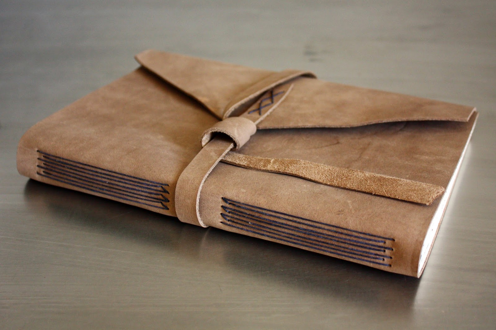 Leather longstitch book handmade by linenlaid&felt