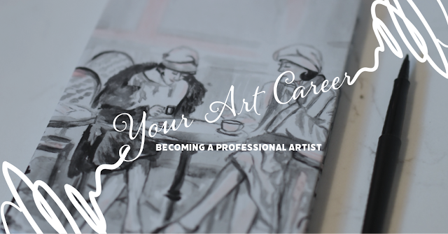 becoming a professional artist cover with text white and gray drawings