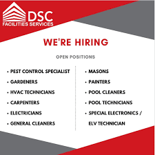 DSC Facilities Services LLC Requirements For Multiple Jobs Vacancies in Dubai  UAE Locations   All Nationality Candidates Can Apply Online