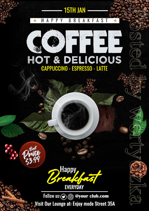 Download flyer for coffee and coffee lovers open source psd