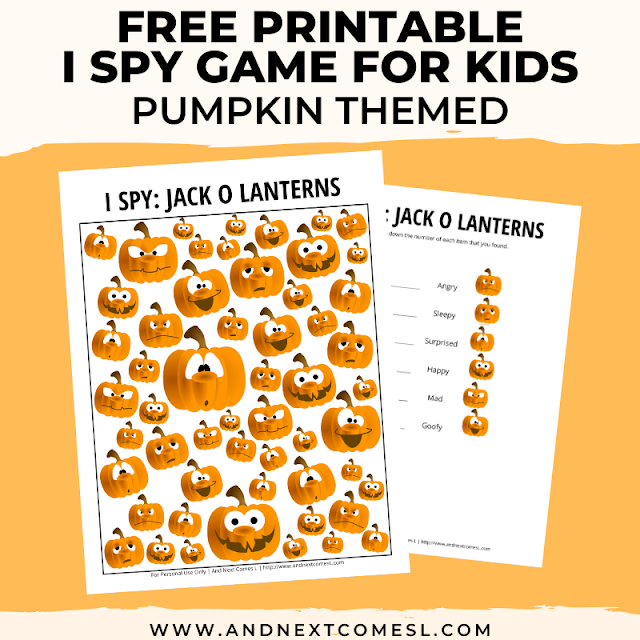 Free I spy game printable