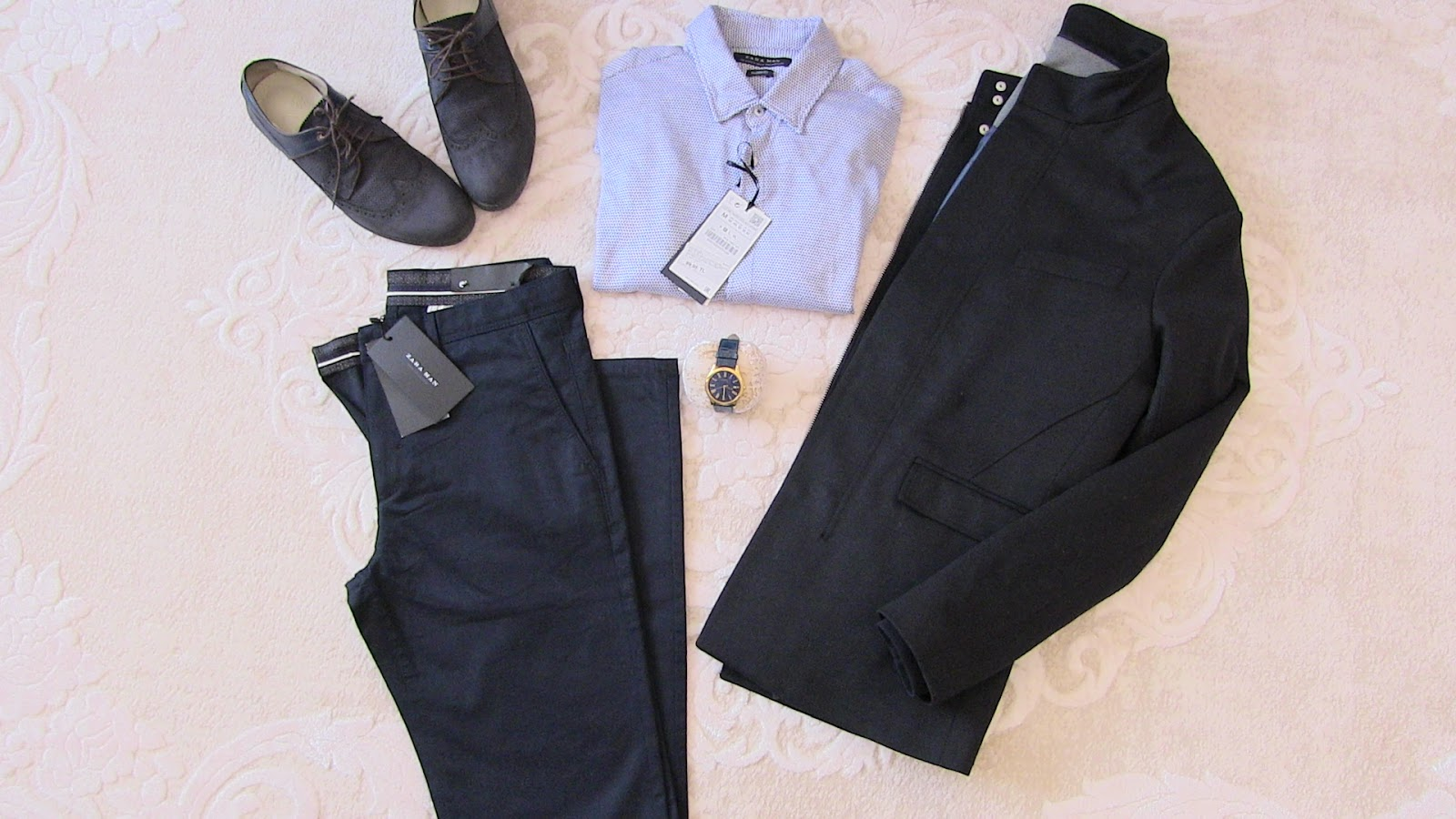 zara lacivert pantolon, zara lacivert mont, zara dökümlü mavi gömlek, versace ayakkabı