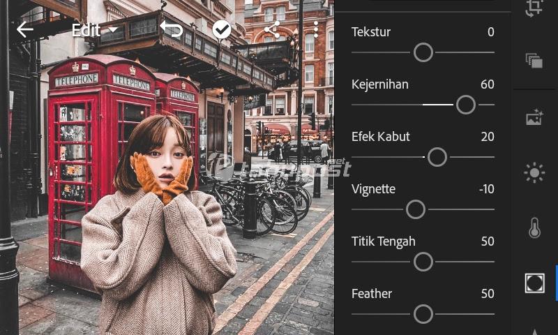 Pengaturan menu efek untuk rumus lightroom urbex di lightroom mobile android