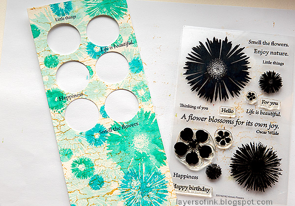 Layers of ink - Circle Photo Frame Card Tutorial by Anna-Karin Evaldsson. Stamp sentiments with Anna's Flowers.