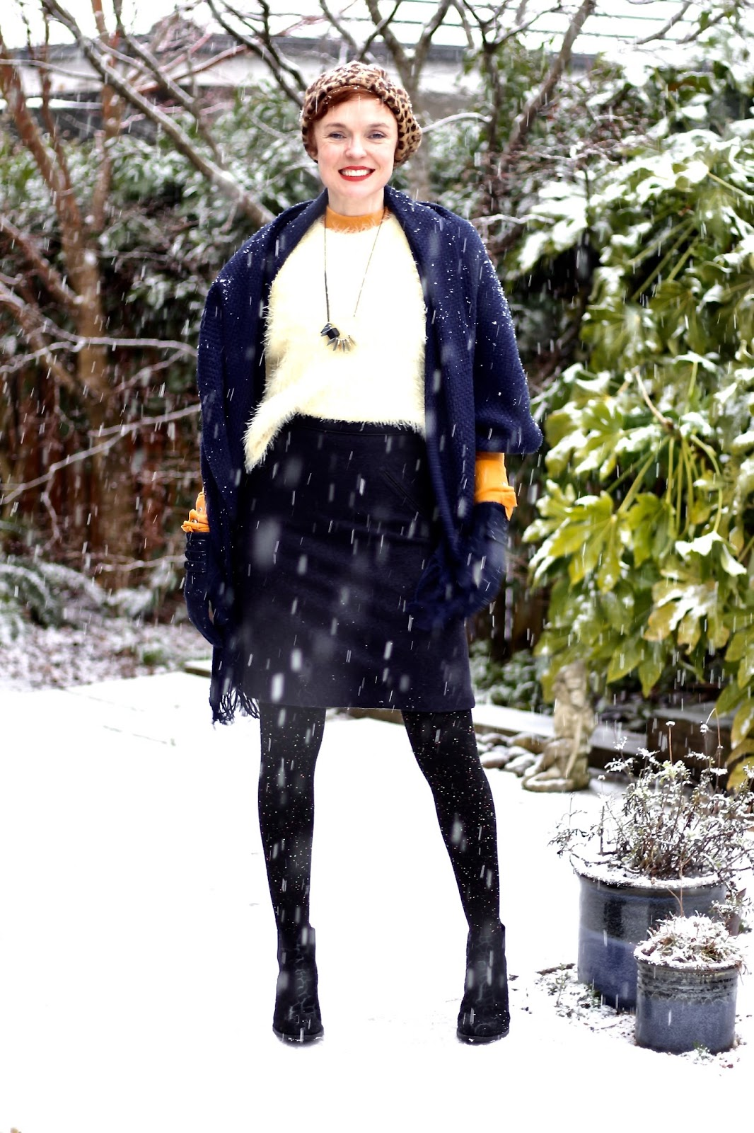 Navy Wool Skirt, Rust and Lemon | Fake Fabulous | Style over 40