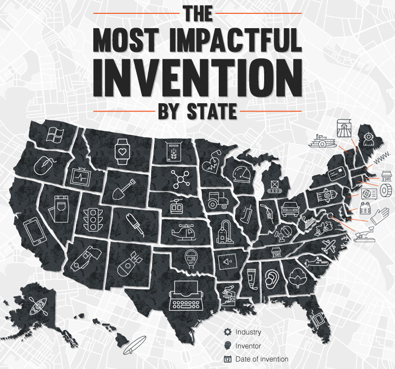 The most impactful invention by U.S. state
