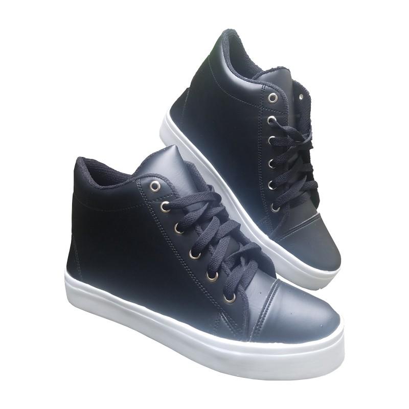 Sneakers Wanita Hak Tinggi 5cm / Sepatu Sneaker Cewek Hitam Putih2