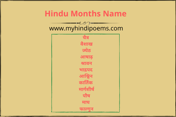 Hindu months name