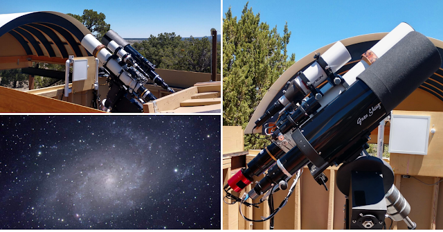 "ATEO-2A: 5"" f/5.8 refractor remote telescope (upper left) with an image acquired of Messier 33, The Triangulum Galaxy (bottom left). ATEO-2B: 6"" f/12 Classical Cassegrain reflector remote telescope (right) specifically configured for planetary imaging."