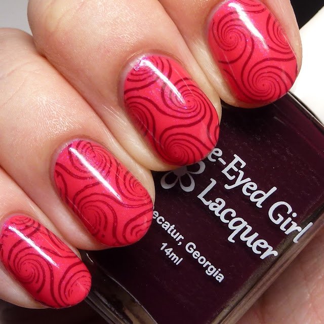 Blue-Eyed Girl Lacquer Rent Boy stamped over Lily of My Dreams Born Pretty BP-L-003