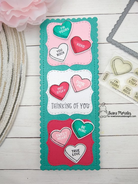 Thinking of you by Diane features Candy Heart, Slimline Windows & Portholes, Frames Squared, and Floral Roundabout by Newton's Nook Designs; #newtonsnook, #inkypaws, #cardmaking, #valentinecard