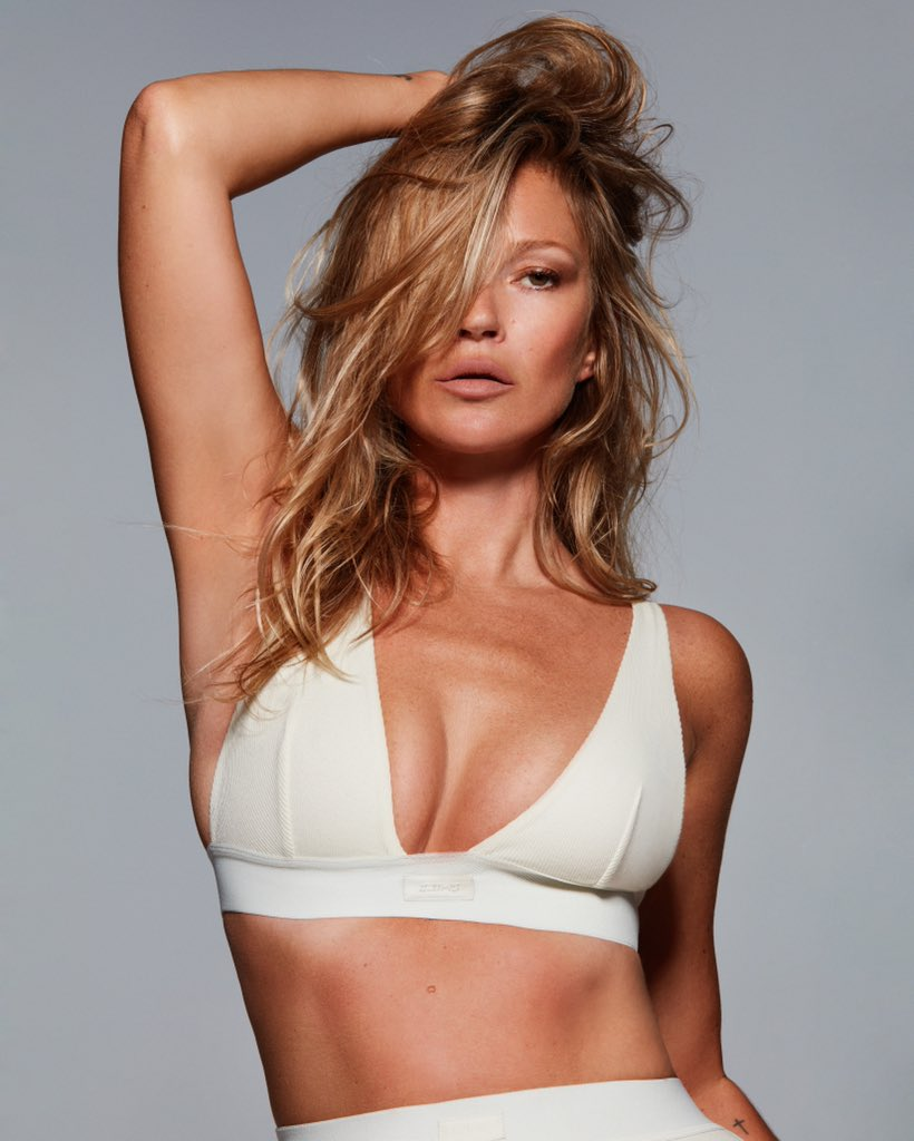 Kate Moss is the new face of Kim Kardashian's SKIMS underwear collection.