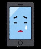スマートフォンのキャラクター(泣いた顔)