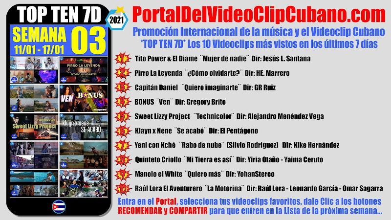 Artistas ganadores del * TOP TEN 7D * con los 10 Videoclips más vistos en la semana 03 (11/01 a 17/01 de 2021) en el Portal Del Vídeo Clip Cubano