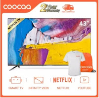 Affordable and Cheap COOCAA 43 Inch Smart TV LED Netflix, Youtube Built-In Frameless FHD 1920*1080 Television Slim Wifi/LAN Mirror Cast (Model 43S3N)