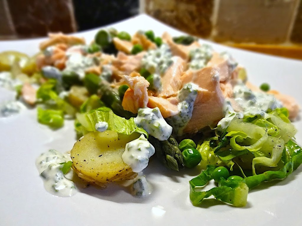 Warm Salad of Poached Salmon