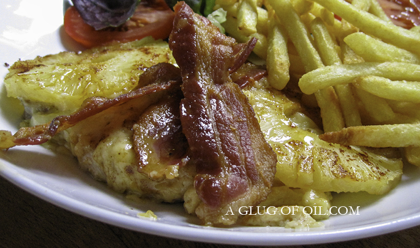 Baked Chicken with Cheese Bacon and Pineapple with Chips