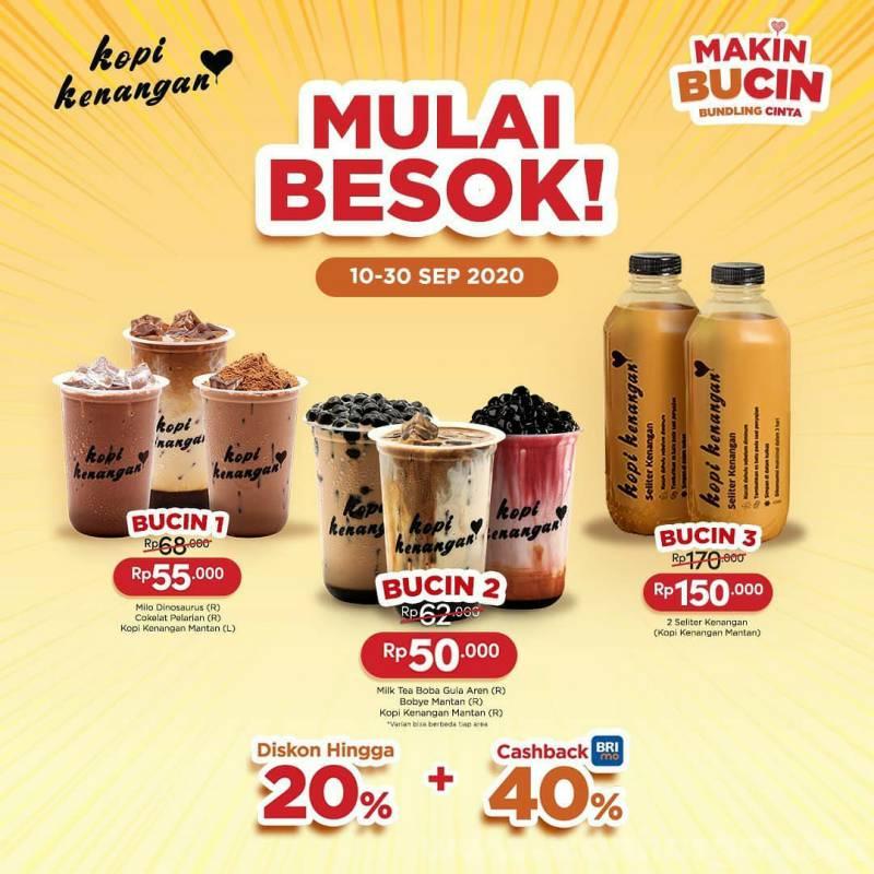 Promo Kopi Kenangan Paket BUCIN Diskon 20% + 40% Cashback dari BRIMo
