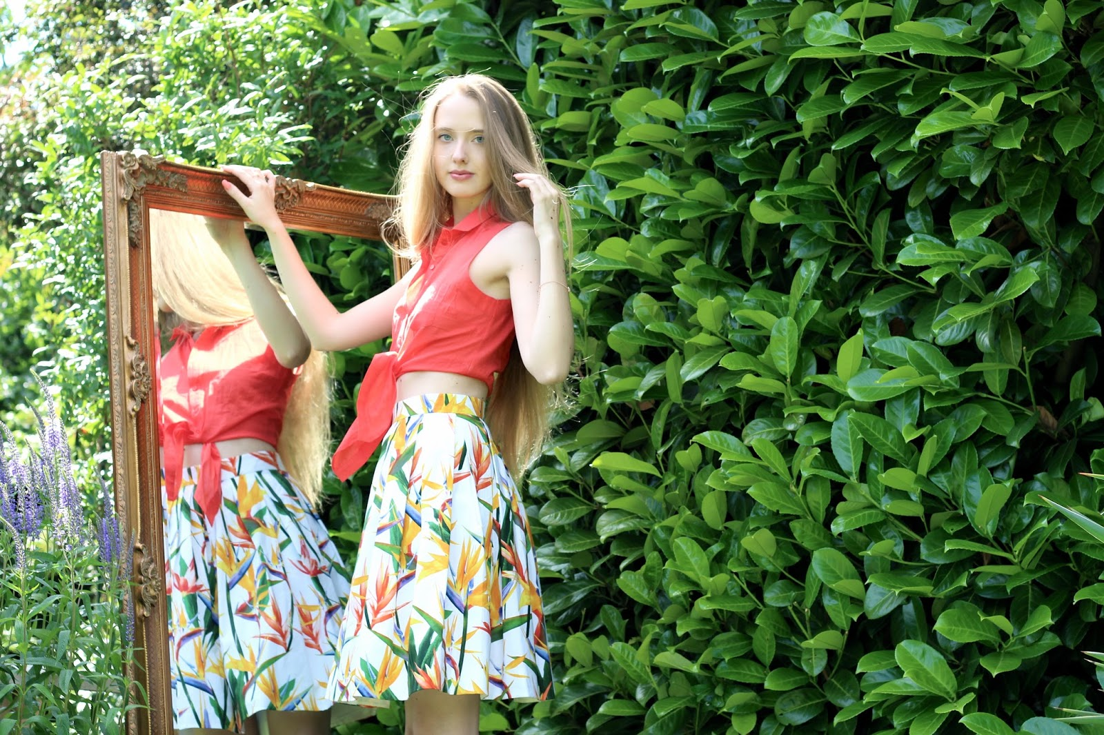 British fashion blogger garden scene