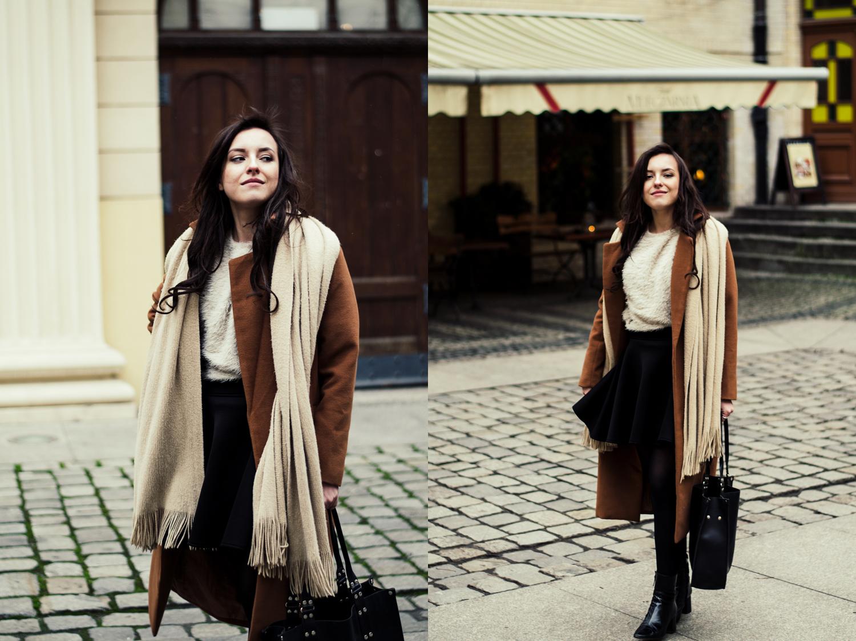 Long camel coat,  flared skirt, fur sweater, leather industral bag blog