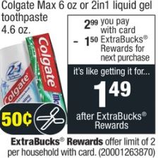 Colgate Max or 2-in-1 Toothpaste