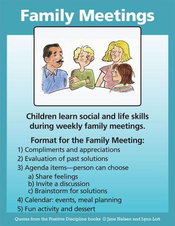 Positive Discipline Family Meetings - family agenda