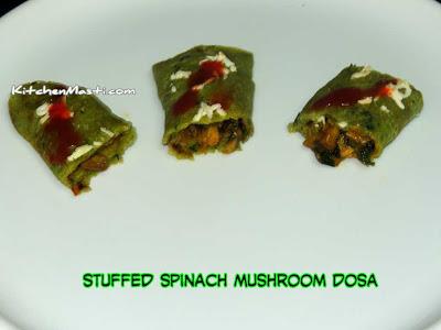 Stuffed Spinach Mushroom Dosa