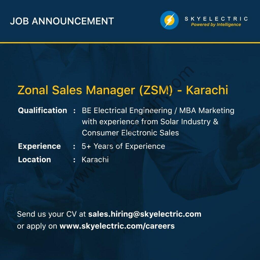 SkyElectric Pvt Ltd Jobs Zonal Sales Manger (ZSM)