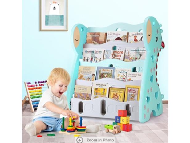 children-bookcase-magazine-rack-display-shelf-book-organiser-blue