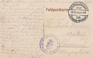 Feldpostkarte von Arthur Fischer an Frieda Fischer in Chemnitz 1916