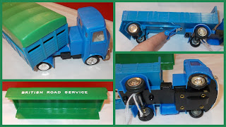 Articulated Lorry; Box Bodied Lorry; British Road Services; BRS; Chromed Fittings; Detachable Trailer; Dinky Crates; Flat Truck; Friction Motor; Landing Gear Wheels; Lucky Toys; No. 182-A; Opening Rear Flaps; Powerful Friction Motor; Pull Back Motor; Six Cases; Small Scale World; smallscaleworld.blogspot.com; The Lucky Toys; Truck Set; With Friction Motor;