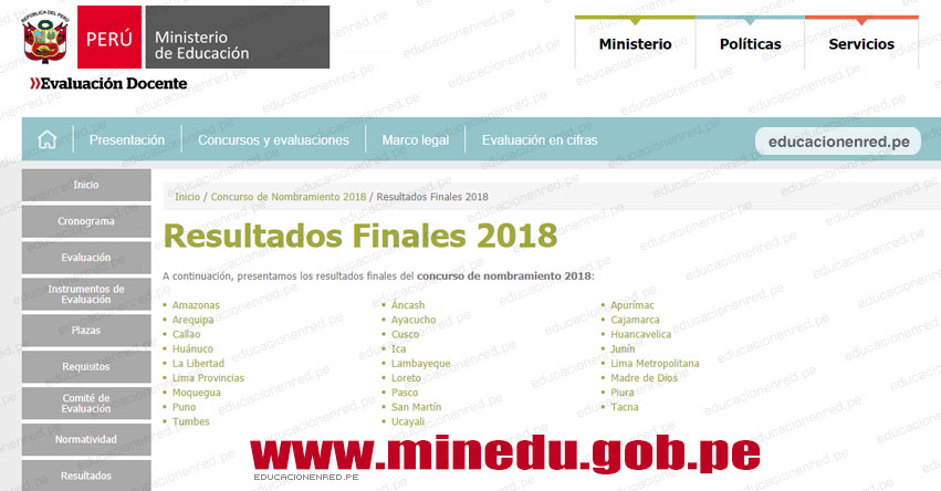 MINEDU: Resultado Final Nombramiento Docente 2018 (Lista de Docentes Nombrados 18 Diciembre) www.minedu.gob.pe
