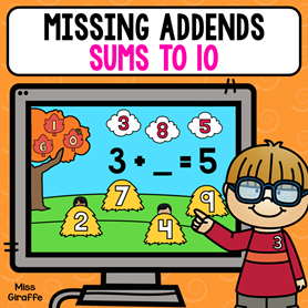 Find the missing addend activity that is so cute that kids can play on a computer or tablet - love!!