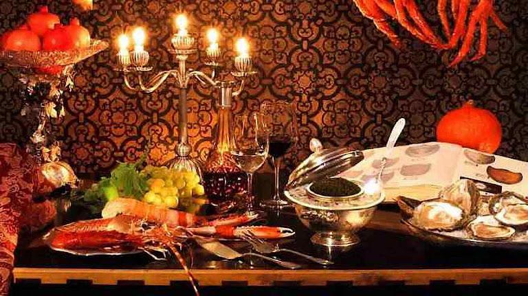 O abade os convidava para uma mesa esplendidamente servida