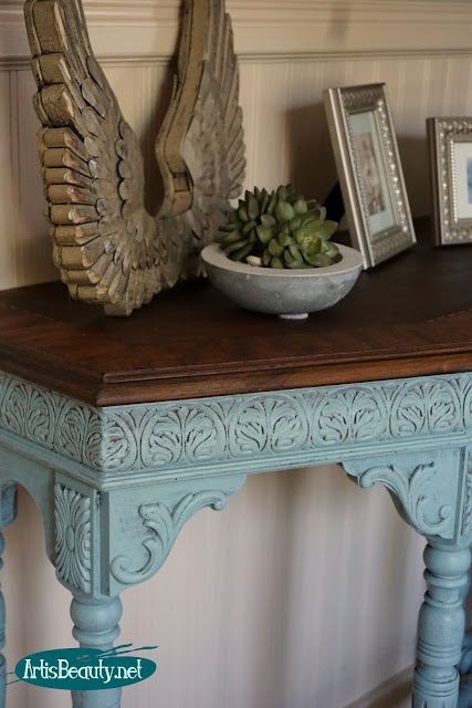 persian blue general finishes library table painted makeover inlaid wood stain top before and after
