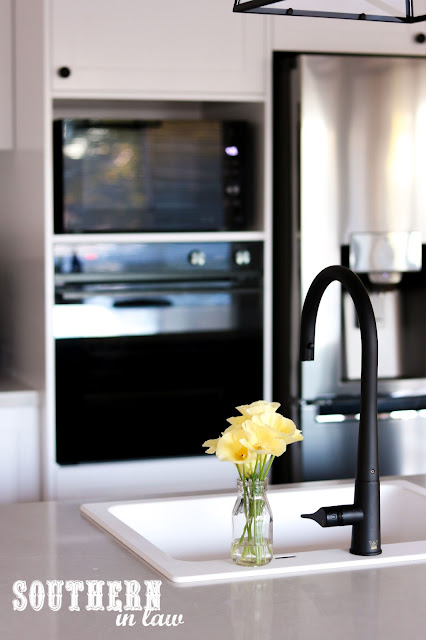 Hamptons Shaker Kitchen Renovation on a Budget with Navy Blue Island Bench and Farmhouse Sink