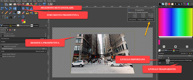 modificare la prospettiva di una foto su trasparenza