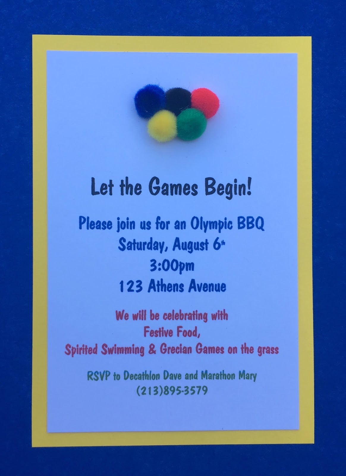 Jac o lyn Murphy Olympics Party Invitations