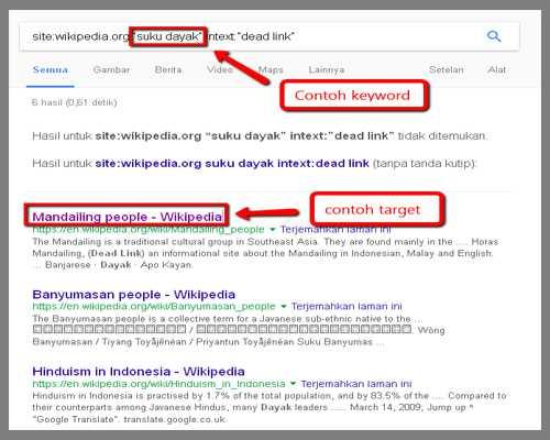hasil query pencarian Google
