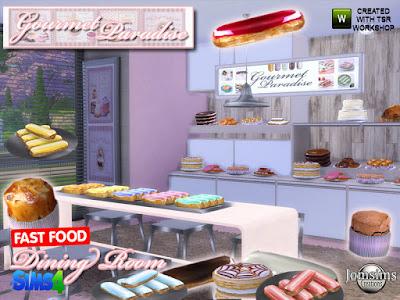 Gourmet paradise dining room Изысканная райская столовая для The Sims 4 Здесь для ваших симов новая столовая в стиле фастфуд. некоторые полки украшают торты. одни деко торты. и 1 курица ананас просто для удовольствия! в этом комплекте 1 обеденный стол в 3 цветах. 1 обеденный стул в 3 цветах. и 1 обеденный стул металлический. Разные одни торты в тарелке. и 3 разных полки с декоративным тортом. 1 знак рая для гурманов. 1 потолочный светильник metal.1 один большой ванильный торт. Эклер 10 парфюм. картина деко тема торта. Автор: jomsims